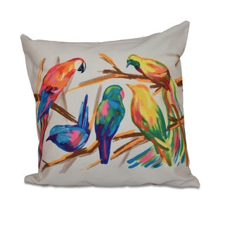 Multicolor Happy Birds Off-White Square Throw Pillow
