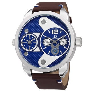 Men's Quartz Multifunction Dual Time Leather Silver-Tone Strap Watch