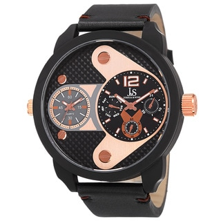 Joshua & Sons Men's Quartz Multifunction Dual Time Leather Black Strap Watch