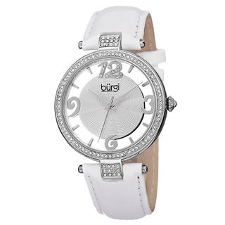 Burgi Women's Quartz Transparent Dial Leather White Strap Watch