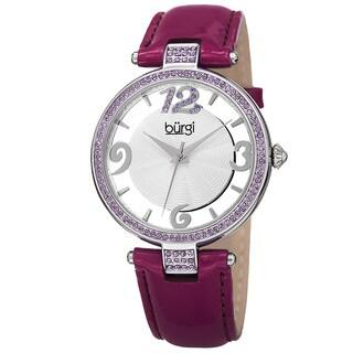Burgi Women's Quartz Transparent Dial Leather Purple Strap Watch