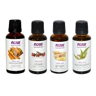Now Foods Essential Oils Holiday Spirit Pack of 4 (Cinnamon Cassia, Clove, Ginger, Eucalyptus)