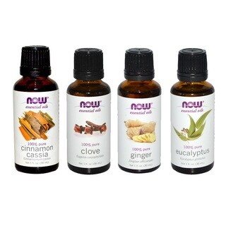 Now Foods Essential Oils Holiday Spirit Pack of 4 (Cinnamon Cassia, Clove, Ginger, Eucalyptus) - White
