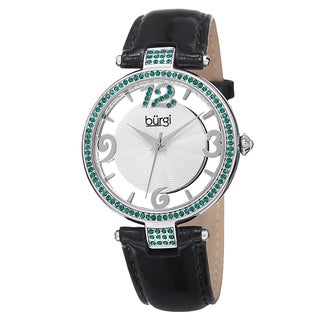 Burgi Women's Quartz Transparent Dial Leather Green Strap Watch with GIFT BOX
