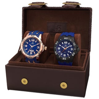 Joshua & Sons Men's Quartz Date Strap Watch Set (Option: BLue - Rose-Tone - Black/Blue)