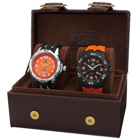 Joshua & Sons Men's Quartz Date Strap Watch Set