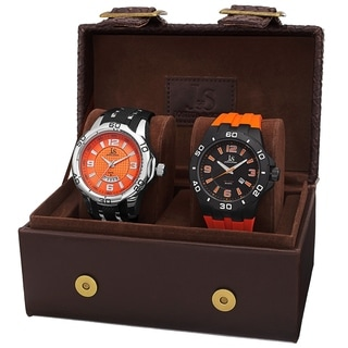 Joshua & Sons Men's Quartz Date Orange Strap Watch Set