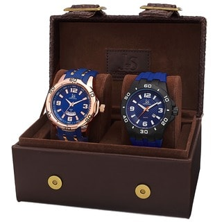 Joshua & Sons Men's Quartz Date Blue Strap Watch Set