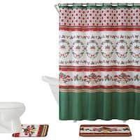 VCNY Holiday Themed Christmas Holly 15-piece Bath Set