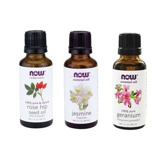 Now Foods Essential Oils Pack of 3 (Rose Hip Seed, Jasmine, Geranium)