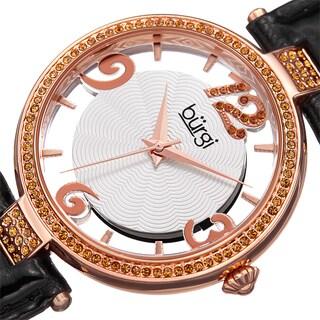 Burgi Women's Quartz Transparent Dial Leather Black Strap Watch