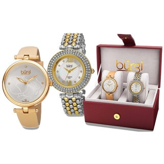 Burgi Women's Colorful Leather Gold-Tone Strap Alloy Bracelet 2-Piece Watch Set