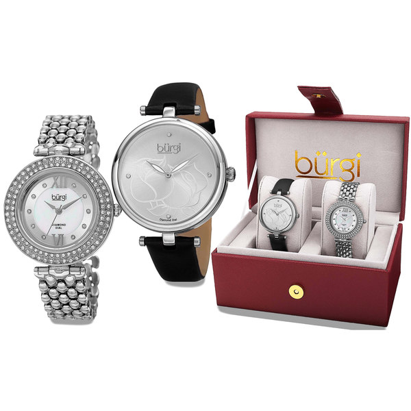 Burgi Women's All About The Details Leather and Bracelet Strap Watch Box Set of 2 - silver