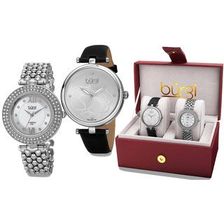Burgi Women's All About The Details Leather and Bracelet Strap Watch Box Set of 2