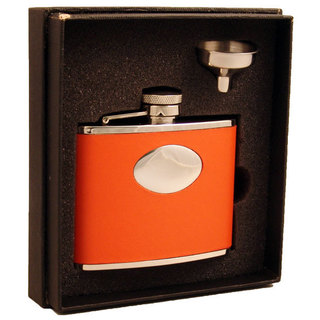 Visol Sunbeam Orange Leather Liquor Essential III Flask Gift Set - 4 ounces
