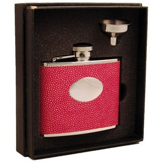 Visol Beluga Hot Pink Lizard Pattern Essential III Flask Gift Set - 4 ounces