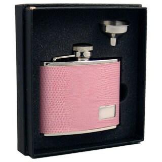 Visol Adora Pink Lizard Pattern Essential III Flask Gift Set - 4 ounces