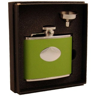 Visol Lily Pad Light Green Leather Essential III Flask Gift Set - 4 ounces
