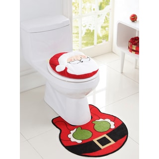 VCNY Holiday Themed Christmas Santa 2-piece Bath Rug Set