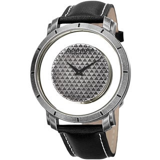 Akribos XXIV Men's Swiss Quartz Retro Style Transparent Dial Leather Silver-Tone Strap Watch