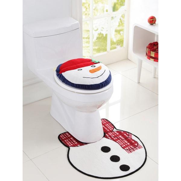 VCNY Holiday Themed Christmas Snowman 2-piece Bath Rug Set