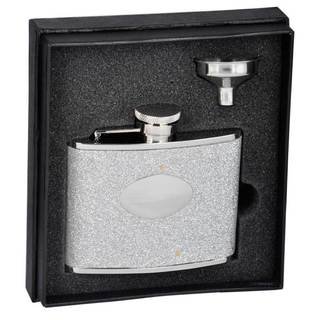 Visol Star Silver Glitter Liquor Essential III Flask Gift Set - 4 ounces