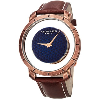 Akribos XXIV Men's Swiss Quartz Retro Style Transparent Dial Leather Rose-Tone Strap Watch