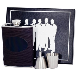 Visol Kearney Brown Leatherette Legion Flask Gift Set with Black Engraving Plate - 6 ounces