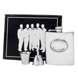 Visol 5 Stars Groomsman Embossed Stainless Steel Legion Flask Gift Set - 8 ounces
