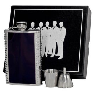 Visol Astaire Black and Stainless Steel Legion II Flask Gift Set - 8 ounces