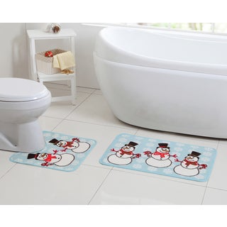 VCNY Holiday Themed Christmas Snowman Snowflake 2-piece Bath Rug Set