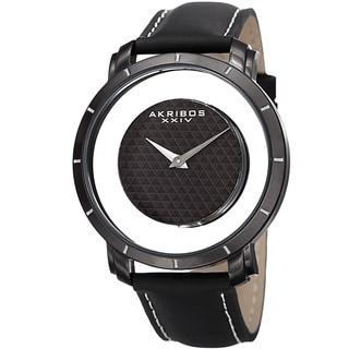 Akribos XXIV Men's Swiss Quartz Retro Style Transparent Dial Leather Black Strap Watch