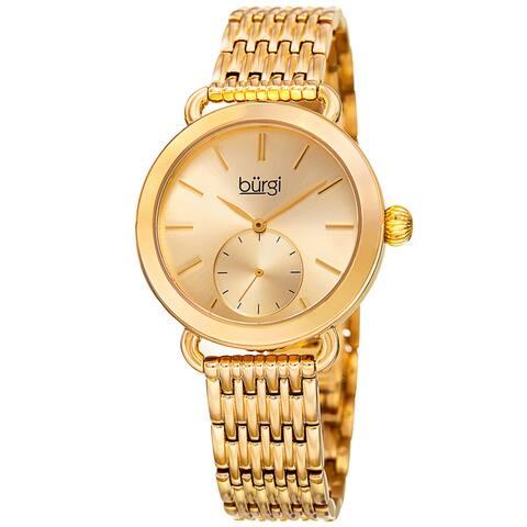 Burgi Women's Quartz Second Indicator Stainless Steel Gold-Tone Bracelet Watch - Gold