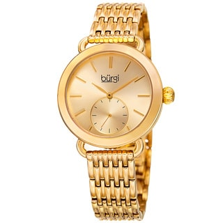 Burgi Women's Quartz Second Indicator Stainless Steel Gold-Tone Bracelet Watch