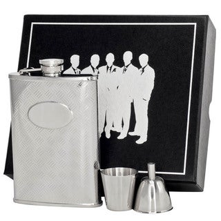 Visol Cross Hatch Engraved Stainless Steel Legion II Flask Gift Set - 8 ounces