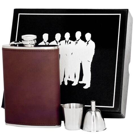 Visol Kenton Brown Leather Legion II Flask Gift Set - 8 ounces