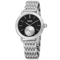 Burgi Women's Quartz Second Indicator Stainless Steel Silver-Tone Bracelet Watch - silver