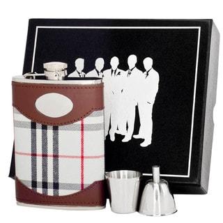 Visol Tobias Leather & White Plaid Legion II Flask Gift Set - 8 ounces