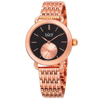 Burgi Women's Quartz Second Indicator Stainless Steel Rose-Tone Bracelet Watch