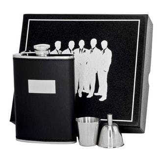 Visol Ontario Black Leather Legion II Flask Gift Set - 8 ounces