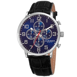 Akribos XXIV Men's Quartz Chronograph Leather Silver-Tone Strap Watch - Blue