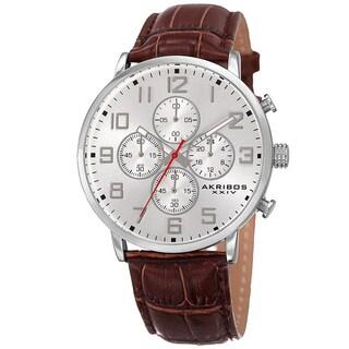 Akribos XXIV Men's Quartz Chronograph Leather Silver-Tone Strap Watch - silver