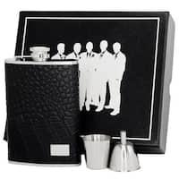 Visol Gator Black Textured Leather Legion II Flask Gift Set - 8 ounces