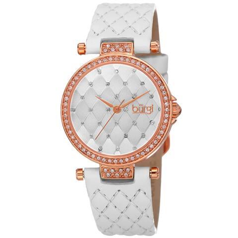 Burgi Women's Swarovski Crystals Quartz Quilted-Design Leather White Strap Watch
