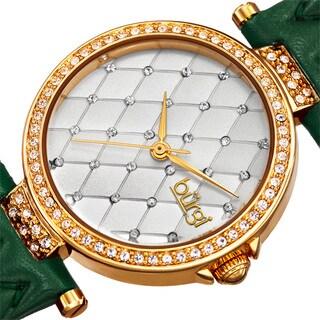 Burgi Women's Swarovski Crystal Elements Quartz Quilted-Design Leather Green Strap Watch