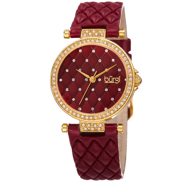 Burgi Women's Swarovski Crystal Elements Quartz Quilted-Design Leather Strap Watch