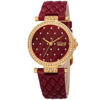 Burgi Women's Swarovski Crystals Quartz Quilted-Design Leather Strap Watch - Red