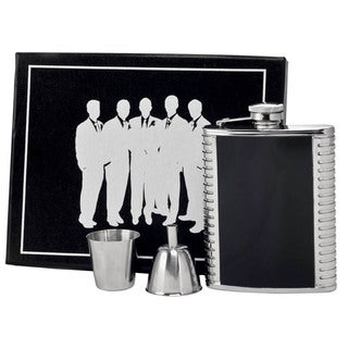 Visol Astaire Black and Stainless Steel Legion Flask Gift Set - 6 ounces
