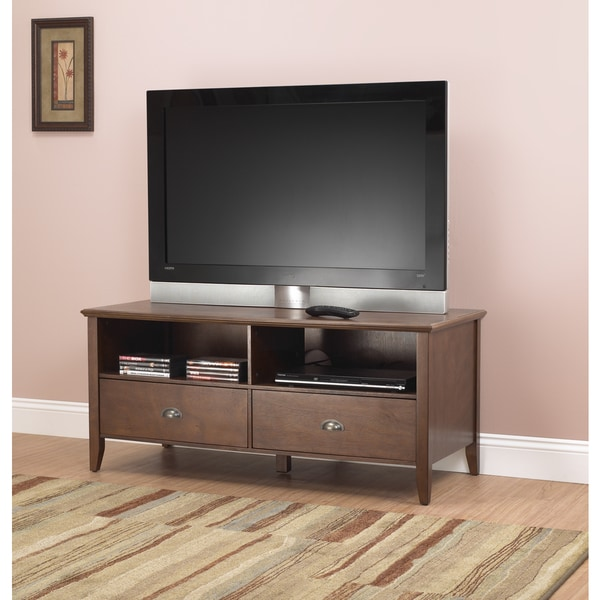 Sheridan inch walnut finish wood tv stand free