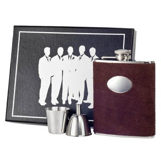 Visol Cowboy Brown Leather Legion Flask Gift Set - 6 ounces